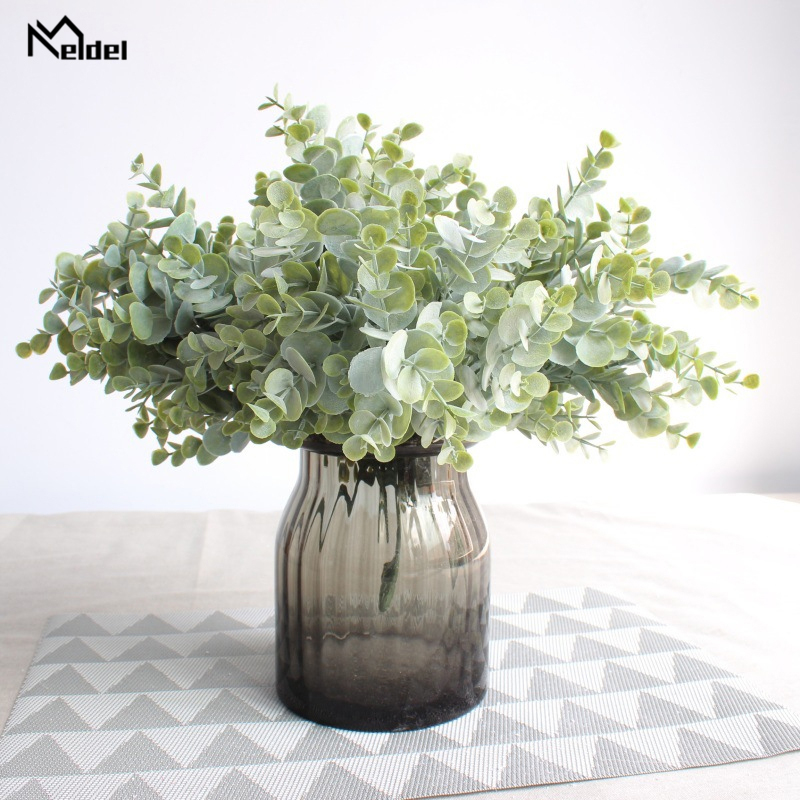 Meldel DIY Bridal Bouquet Decorations Artificial Eucalyptus Leaves 7 Forks Handmade Plant Flower Arrangement Wedding Supplies