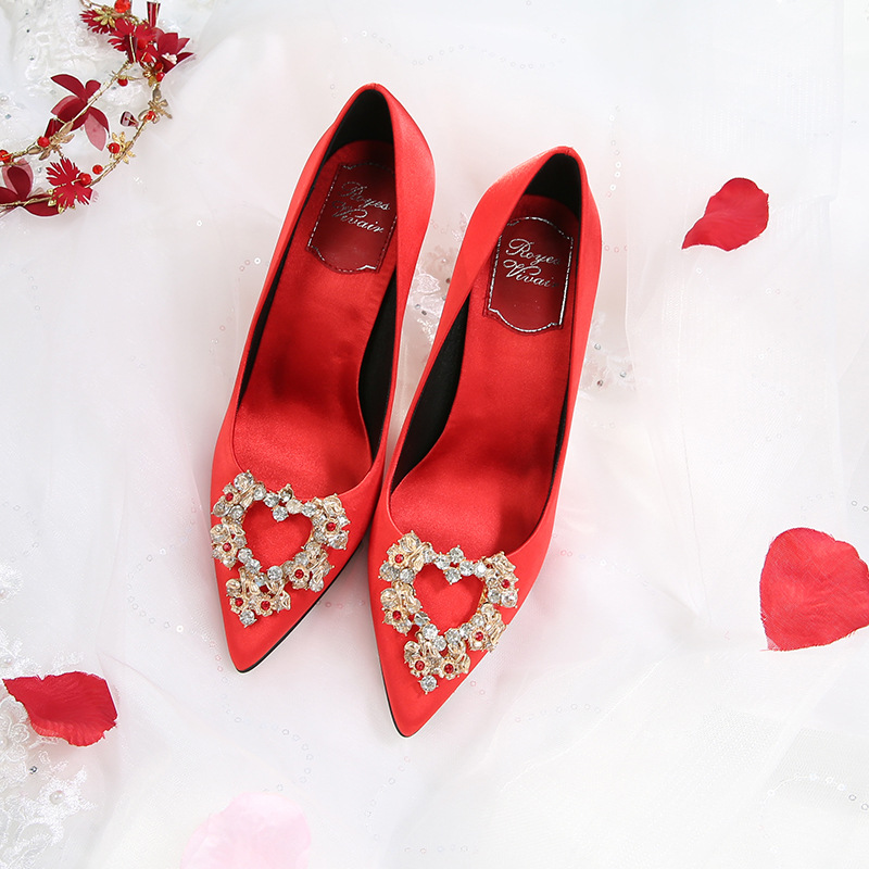 The Bride Red Wedding Shoes New Satin Rhinestone Stiletto High Heels Korean-Style Pointed Shoes