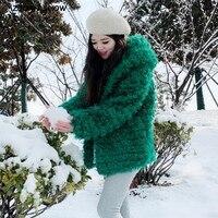 2019 Oversize Winter Warm Green Curly Hairy Hooded Faux Fur Coat Casual Long sleeve Women Fur Jacket Loose Outwear