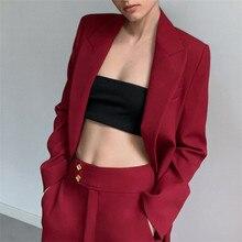 Women's Blazer Red Wine Long Sleeve Blazers Solid One Button