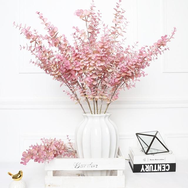 35cm 80cm מזויף אקליפטוס משאיר צמחים מלאכותיים פלסטיק עץ סניף שווא טרופי עלים לחתונה בית מפלגת קישוט