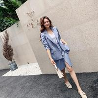 Autumn Double Breasted Blazer Side Split Skirt Two Piece Set Notched Women Elegant Jacket Skirt Outfits Work Blazer Suits