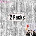 2Pack Silber Metallic Folie Lametta Fringe Vorhang Geburtstag Hochzeit Bachelorette Party Dekoration Erwachsene Fotografie Hintergrund Wand
