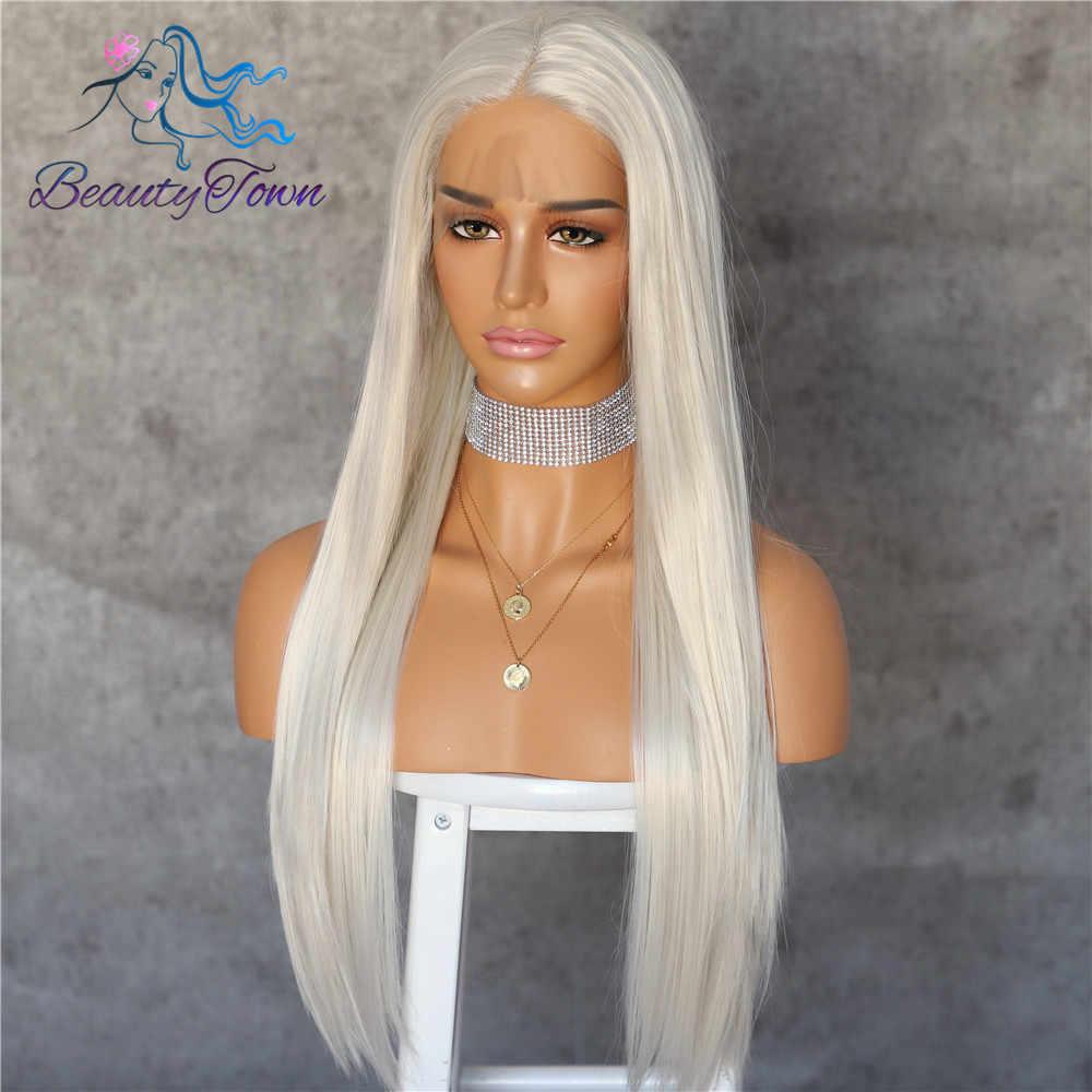 BeautyTown, Cosplay recto resistente al calor, blanco atado a mano, para chica de los famosos, fiesta de boda, peluca con malla frontal sintética