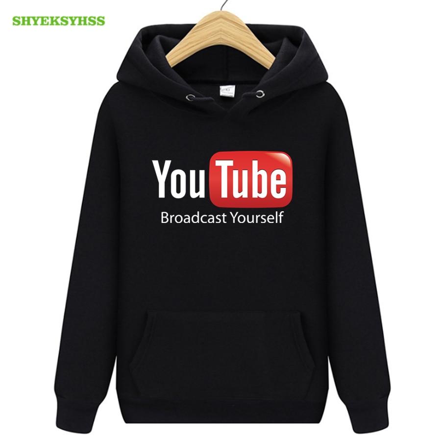 YouTube logo print hoodies men's funny clothing tops fashion overalls hoodie mens youtuber street sweatshirt pullovers