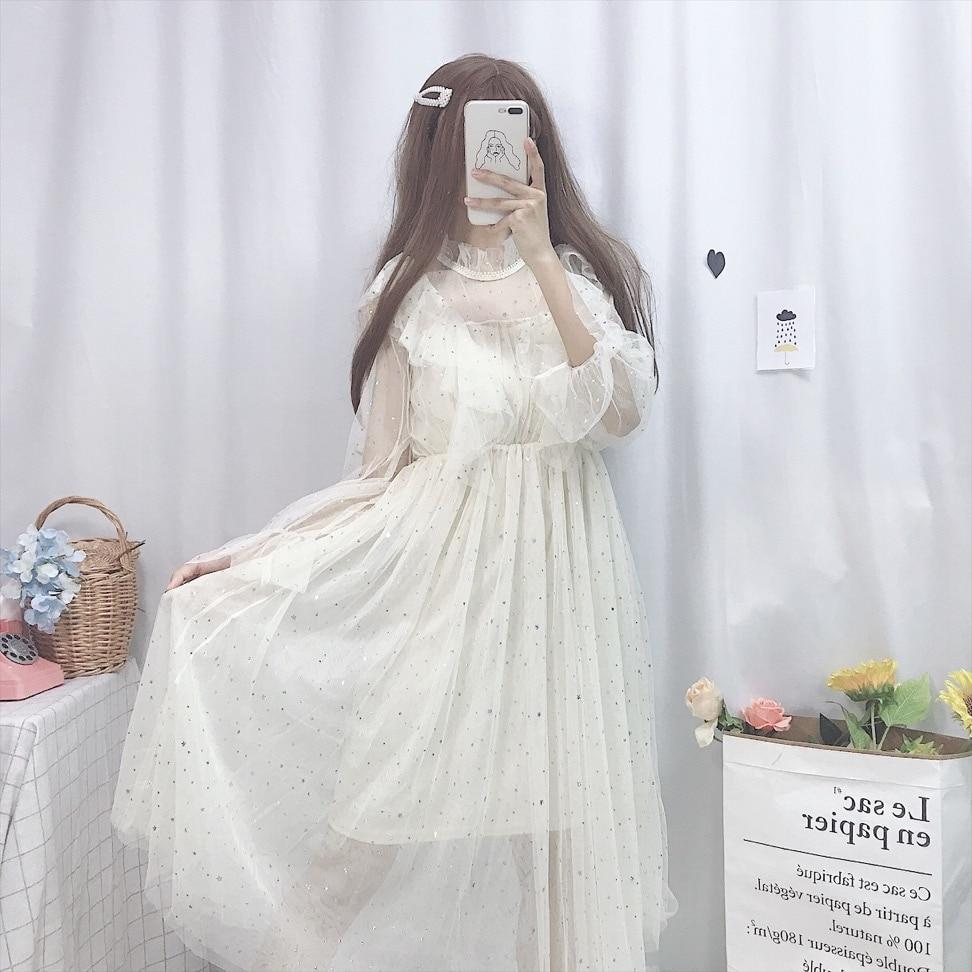Купить милое летнее платье в стиле лолиты винтажное с рюшами и сетчатое