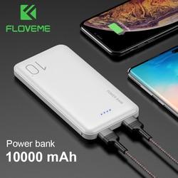 Floveme mini portátil 10000 mah power bank carregador usb saída dupla powerbank para iphone 7 para xiaomi redmi nota 7 bateria