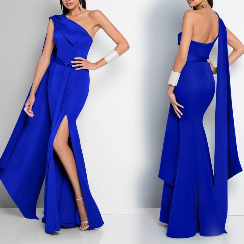 Elegant Split Blue Gown Formal Evening Dress 2019 Robe De Soiree Prom Party Dress Abiti Da Cerimonia Da Sera