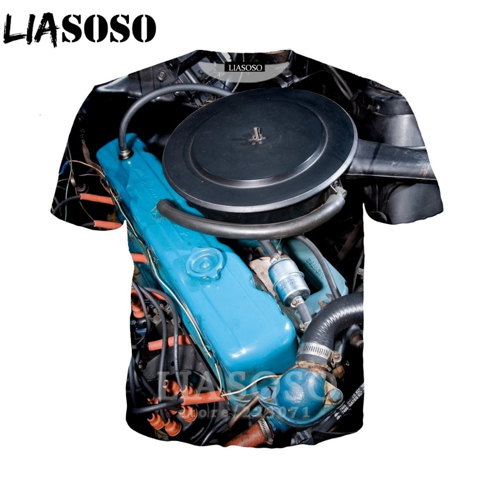 LIASOSO Women Sweatshirt 3D Print Engine T Shirt Car Parts Men`s T-shirts Machinery Men Cartoon Tshirt Harajuku Beach Tees D013-2 (25)