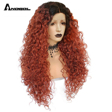 ANOGOL Curly Synthetic Lace Front Wig with Baby Hair Natural Dark Roots Copper Red Ombre Long Heat Resistant Wigs for Women стоимость
