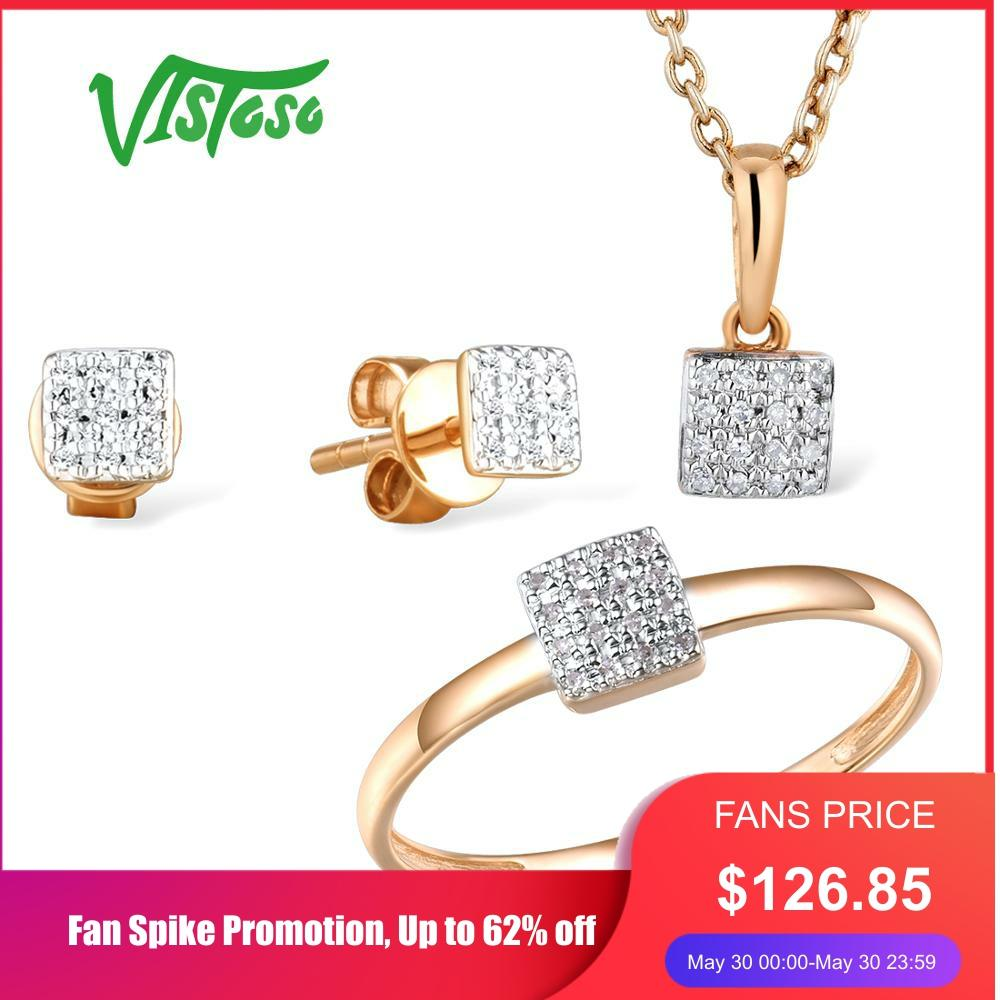 VISTOSO Jewelry Set For Woman Pure 14K 585 Rose Gold Sparkling Diamond Square Earrings Ring Pendant Set Fashion Fine Jewelry
