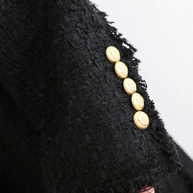 Women Fashion Double Breasted Tweed Dress Style Jackets Elegant Ladies Turn Down Collar Long Sleeve Coats