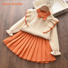 Bear Leader Girls Cartoon Dress New Autumn Princess Dress Lovely Top and Leopard Dress Outfits Cute Kids Children Clothing 3 7Y