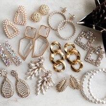 Dvacaman ZA pendientes largos de cristal de moda Vintage pendientes de perlas simuladas Maxi geométricas pendientes de declaración para joyería de las mujeres