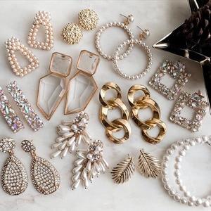 Dvacaman ZA Fashion Crystal Drop Earrings Vintage Simulated Pearls Earrings Maxi Geometric Statement Earrings for Women Jewelry