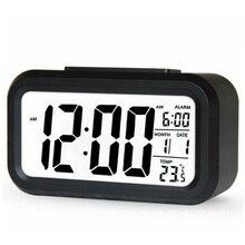 Gorąca sprzedaż cyfrowy budzik LED zegar podświetlenie drzemka wyciszenie kalendarz pulpit elektroniczny Bcaklight zegary stołowe zegar na biurko