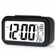 Gran oferta alarma digital LED luz de fondo despertador calendario silencioso escritorio electrónico Bcaklight relojes de mesa reloj de escritorio