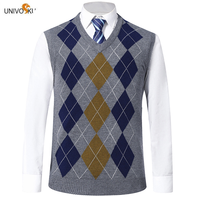 UNIVOS KUNI 2019 Spring And Autumn Men's Sweater Vest Newest Fashion Diamond Plaid Men's Casual Slim Sweater Vest 1916