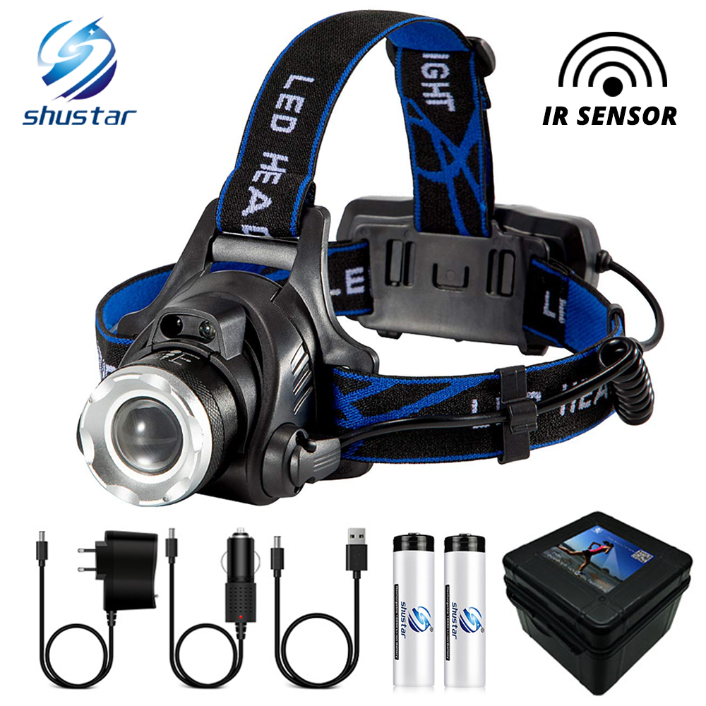 Super bright LED Headlamp With sensor Zoomable fishing lamp 4 Lighting Modes Powered by 2 18650 batteries For camping adventure