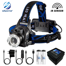Super bright LED Headlamp With sensor Zoomable fishing lamp 4 Lighting Modes Powered by 2 18650 batteries For camping, adventure