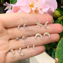 Boucle D'oreille Punk Golden Stud Earrings For Women Fashion Moon Star Crystal Earrings Sets Girl Jewelry Brincos 2019 New Gift(China)