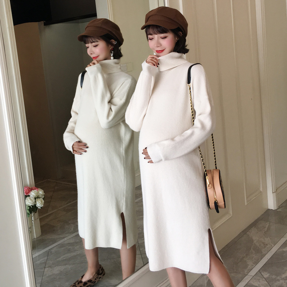 935# High Neck Side Splits Thicken Warm Knitted Maternity Long Sweaters Dress Clothes For Pregnant Women Autumn Winter Pregnancy