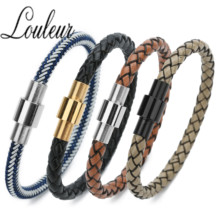 Vintage Genuine Leather Magnetic Clasp Bracelet Men Fashion Braided Handmade Star Rope Wrap Bracelets & Bangles Gifts