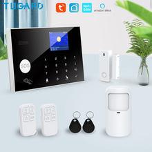 Tugard Tuya Wifi Gsm ev hırsız güvenlik alarmı sistemi 433MHz uygulamaları kontrol LCD dokunmatik klavye 11 diller kablosuz Alarm kiti