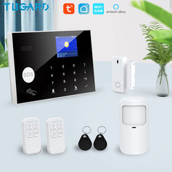 Tuya Wifi Gsm Home Burglar Security Alarm System 433MHz Apps Control LCD Touch Keyboard 11 Languages Wireless Alarm System Kit