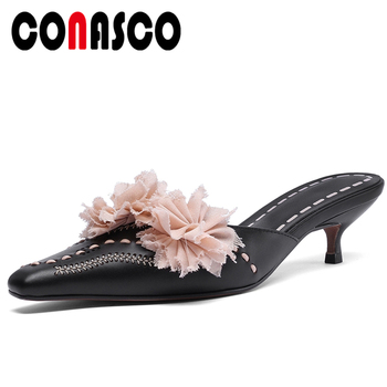 CONASCO Fashion Elegant Women Sandals Slippers Mules Pumps Genuine Leather Flowers Thin Heels 2020 Summer New Casual Shoes Woman