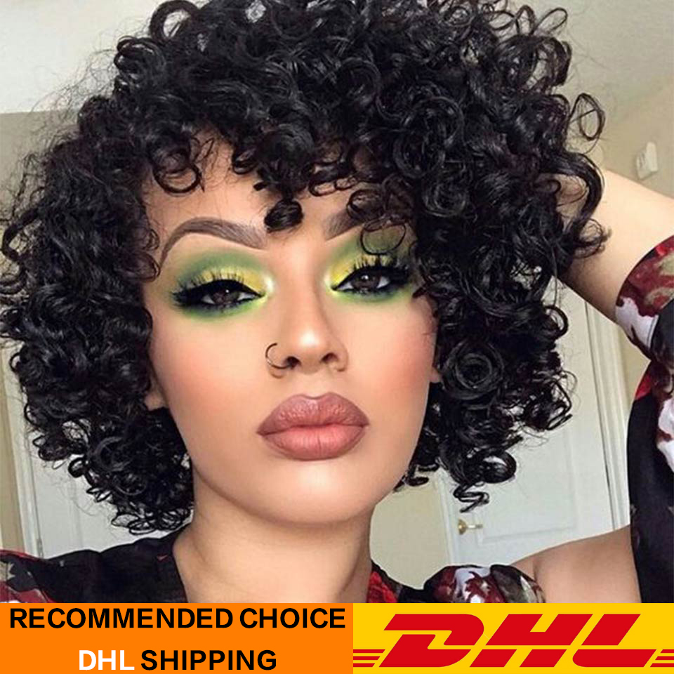 Rebecca Short Wet & Wavy Wigs For Black Women Peruvian Remy Loose Curly Human Hair Wig Color In 1B  DX1029  Free Shipping