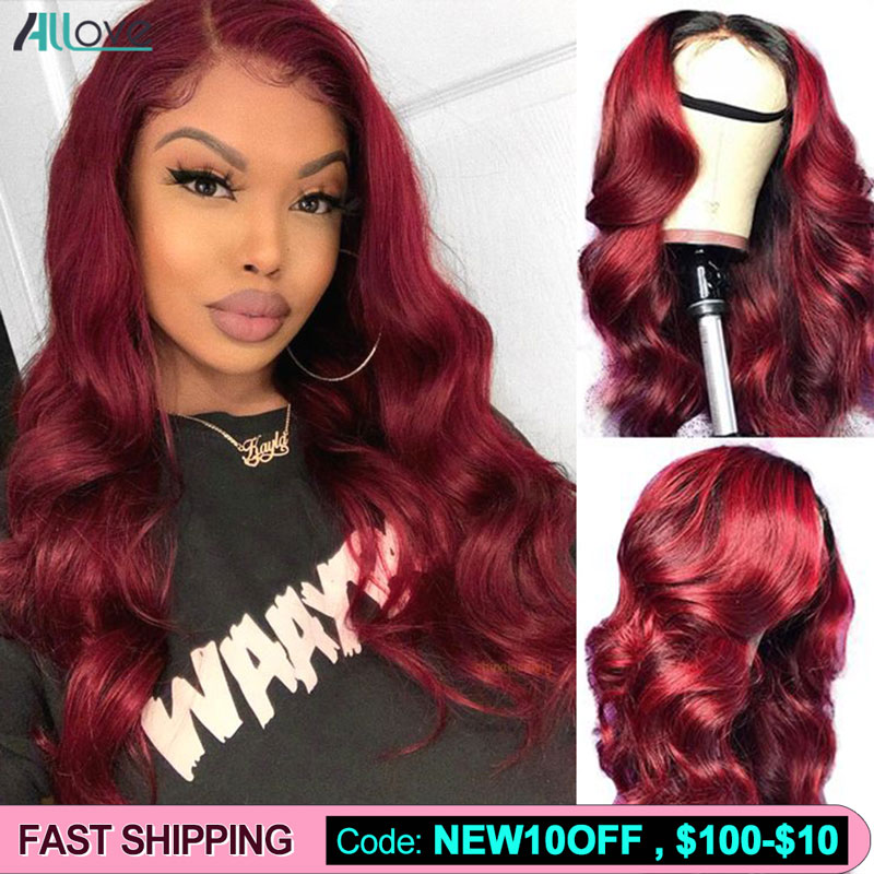 Allove 99J Lace Front Wig Body Wave Human Hair Wig Red Wigs Colored Human Hair Wigs 1B 99J Ombre Human Hair Wigs For Women