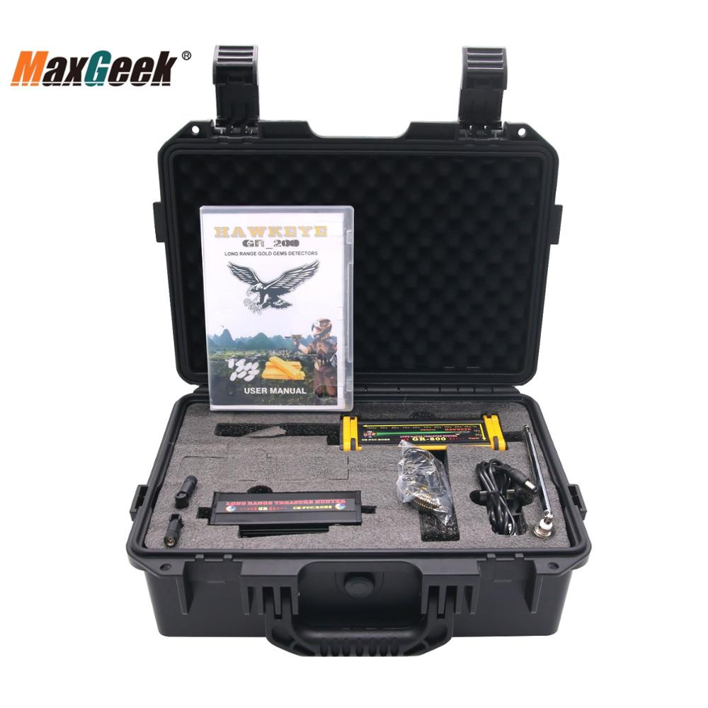 Maxgeek GR-200 Long Range Metal Gold Detector Underground 100m W/ 3D LED Display 2 Antennas Plastic Case