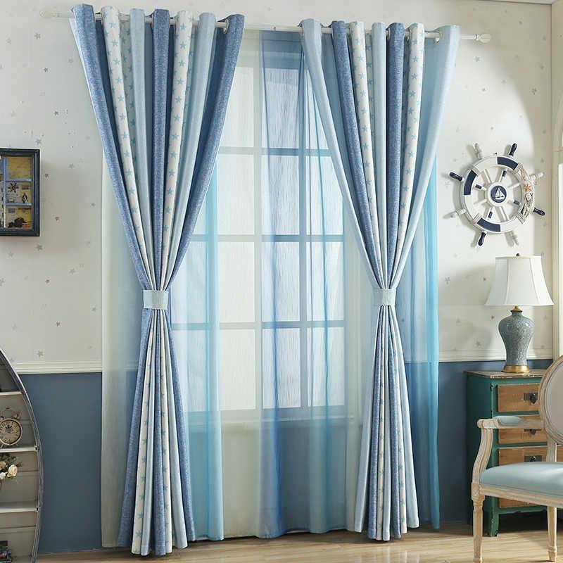 Blauwe Ster Linnen Verduisterende Gordijnen Voor Woonkamer Moderne Jaloezieën Voor Getrouwd Study Room Kids Cortinas S202 & 40