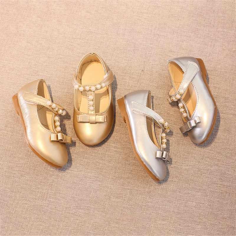 รองเท้าฤดูใบไม้ผลิเด็กทารก \ 'Bows ไข่มุกประดิษฐ์ PU + เนื้อ Tendon เด็กรองเท้าทอง sliver สี 0-10Y