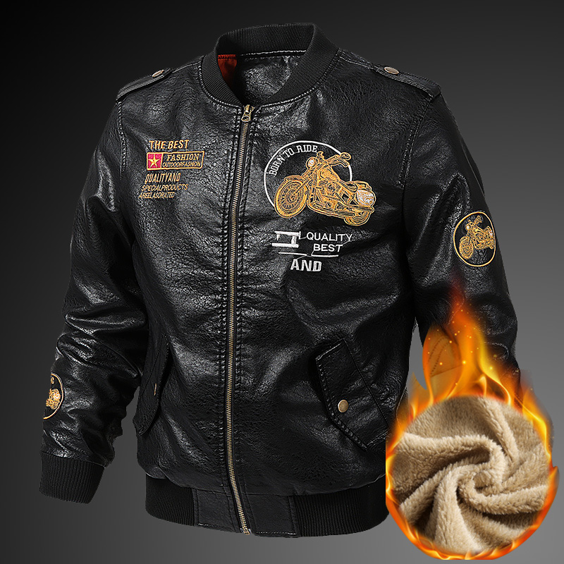 Men's Embroidery Motorcycle PU Leather Jackets Spring Autumn Casual Baseball Coats Biker Bomber Pilot Faux Leather Jacket 5XL