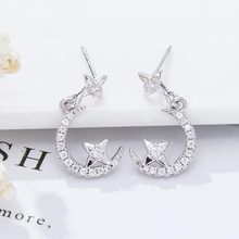 KOFSAC Hot 925 Silver Earrings Jewelry Fashion Shiny Zircon Stars Moon Stud Gift For Women Girls Kids Lady Anniversary
