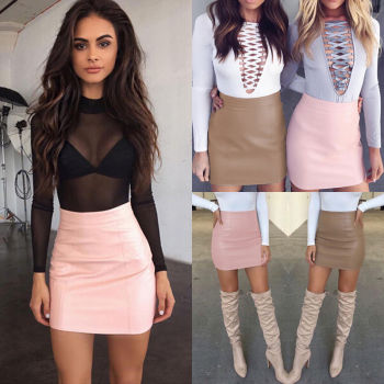 Fashion Women Leather Skirt Female Solid Bodycon Slim Pencil Short Mini Skirt Ladies Zipper High Waist Skirt Tight Clubwear 2
