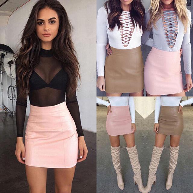 Fashion Women Leather Skirt Female Solid Bodycon Slim Pencil Short Mini Skirt Ladies Zipper High Waist Skirt Tight Clubwear 2