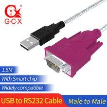 Usb to rs232 직렬 케이블 칩셋 남성 남성 9pin com usb db9 변환기 어댑터 windows 7 8 10 xp mac os x 프린터 led