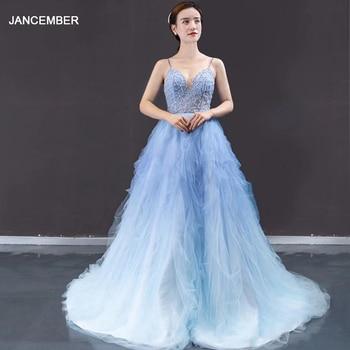 J66989 jancember vestido de noche de talla grande elegante correa espagueti encaje azul y blanco gradiente vestido de noche Dubái vestido longo