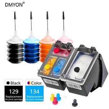 цена на DMYON 129XL 134XL Ink Cartridge Compatible for Hp 129 134 for DeskJet 5940 5943 6940 6943 6983 Photosmart 2570 2573 8000 Printer