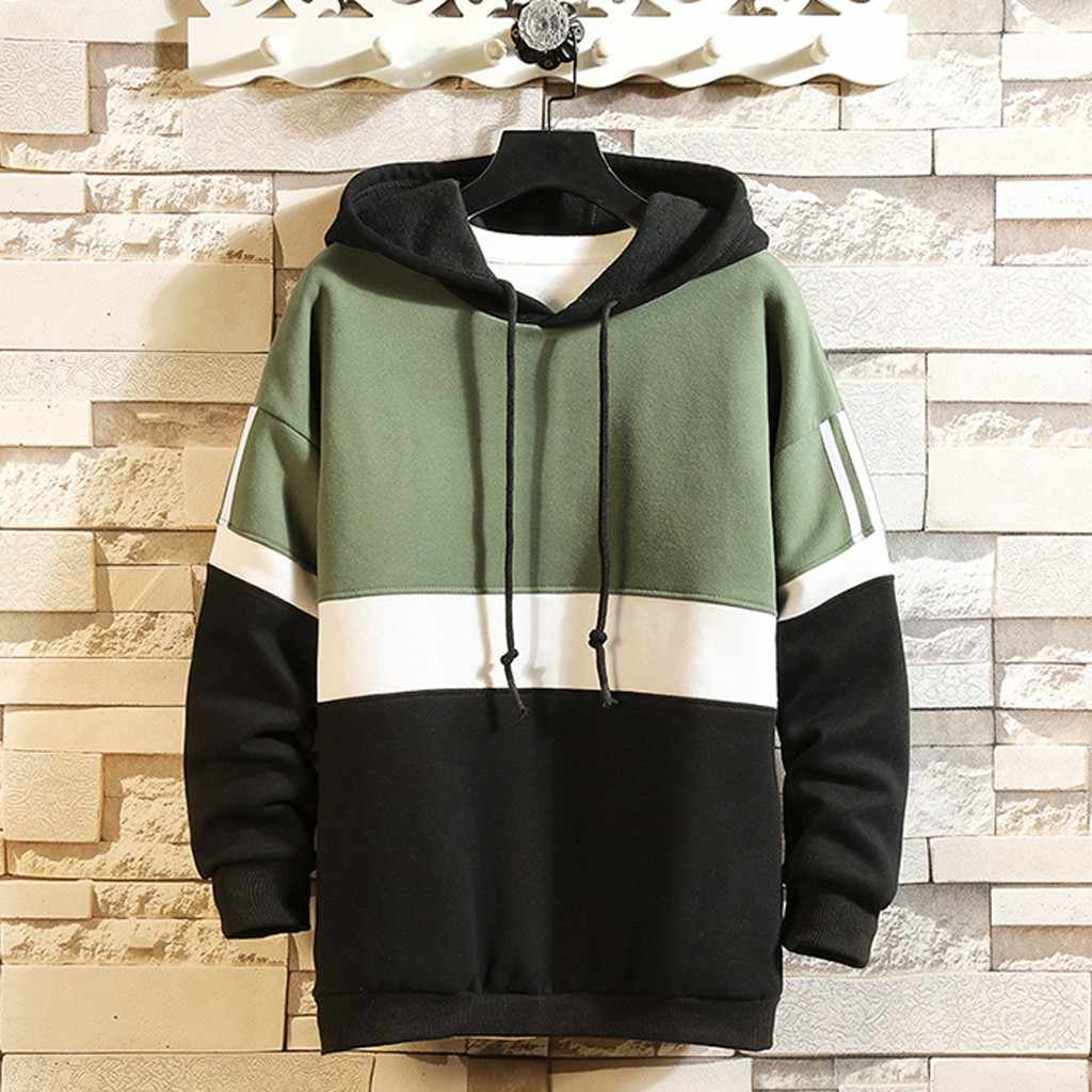 Feitong Patchwork Hoodies Sweatshirt Mannen Splicing Knop Trui Lange Mouwen Hooded Sweatshirts Hip Hop Tops