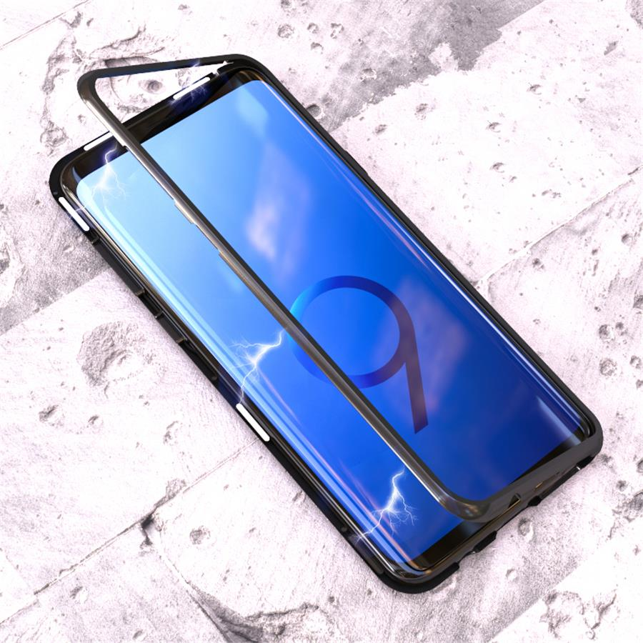 Magnetic Adsorption Metal <font><b>Case</b></font> For <font><b>Samsung</b></font> <font><b>Galaxy</b></font> S10 S9 S8 Plus S7 Edge Tempered Glass Back Magnet Cover For <font><b>Note</b></font> <font><b>8</b></font> 9 10 <font><b>Cases</b></font> image
