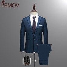 Jacket + Pant New Men Business Slim Suits Sets Solid Color Wedding Office Dress Two-piece Suit Blazers Coat Trousers Waistcoat
