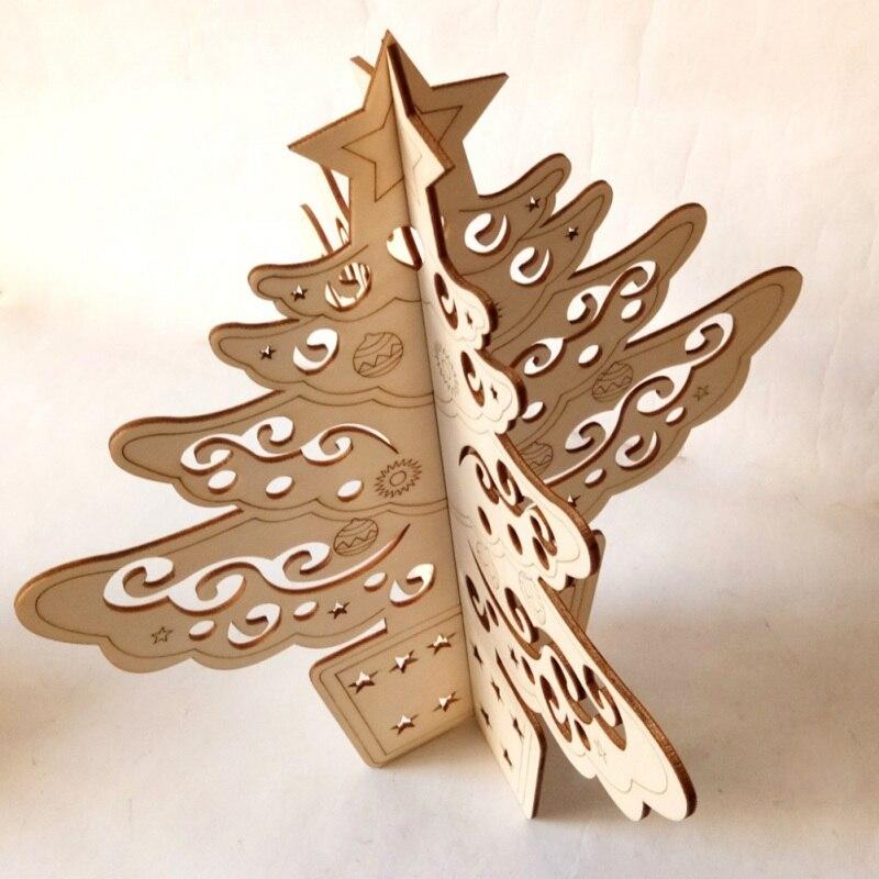 Kerstboom Houten Craft Diy Montage 3D Hollow Desktop Ornamenten Kids Gift Kerst Decoratie Voor Thuis Kerst Decoratie - 4