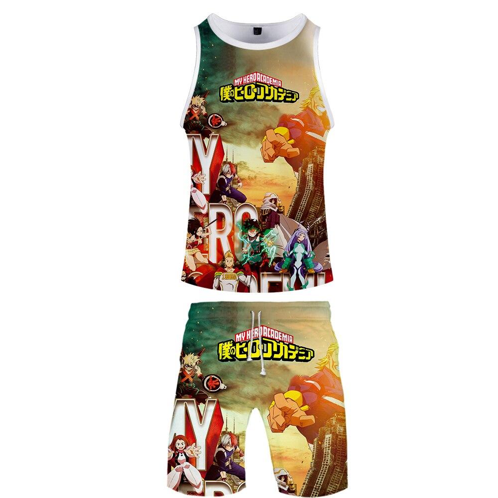 My Hero Academia 3D Print Anime Harajuku 2 Pic Tank And Short  Two Piece High Quality Popular Casual Streetwear New Set