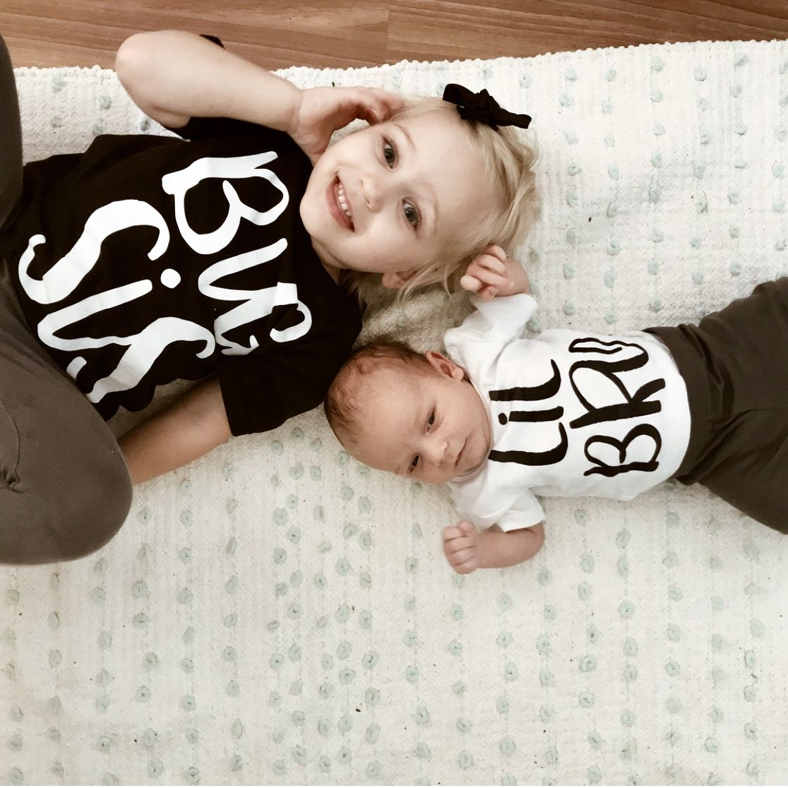Matching Tops Tshirt Lil Bro Sister Family And White Black Casual Big Rompers Kids