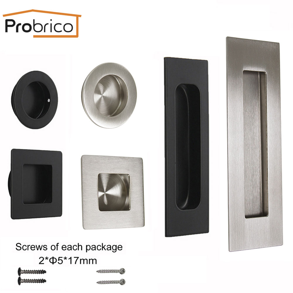 Probrico Tatami Hidden Door Handles Recessed Flush Pull Cover Floor Cabinet Handle Knobs Black Stainless Steel Furniture Pulls