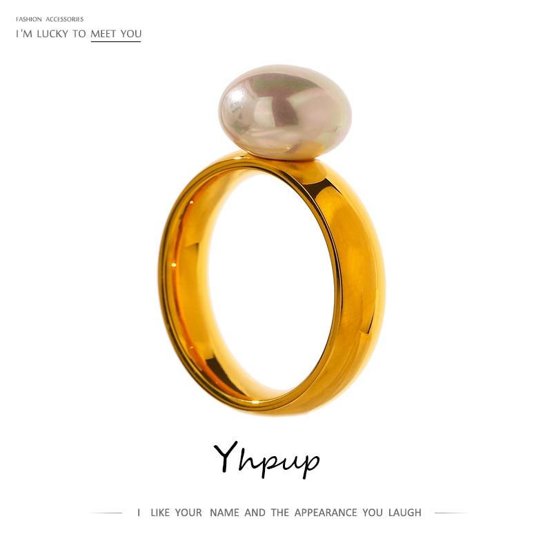 Yhpup zarif kabuk inci yüzük moda altın paslanmaz çelik Metal 18 K geometrik yüzük takı kadınlar için nişan yüzüğü 2021